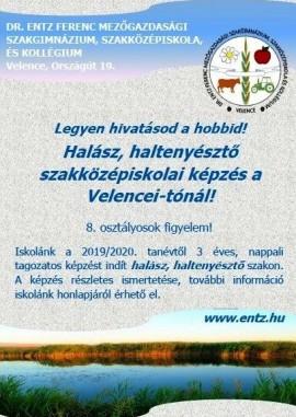 Halász, haltenyésztő képzést indít a Dr. Entz Ferenc Mezőgazdasági Szakgimnázium, Szakközépiskola és Kollégium Velencén!
